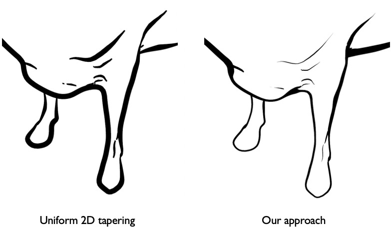 Stroke tapering examples