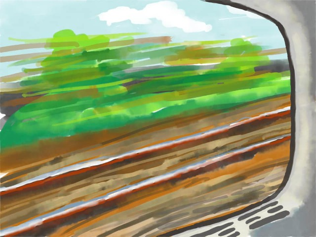 Train window painting